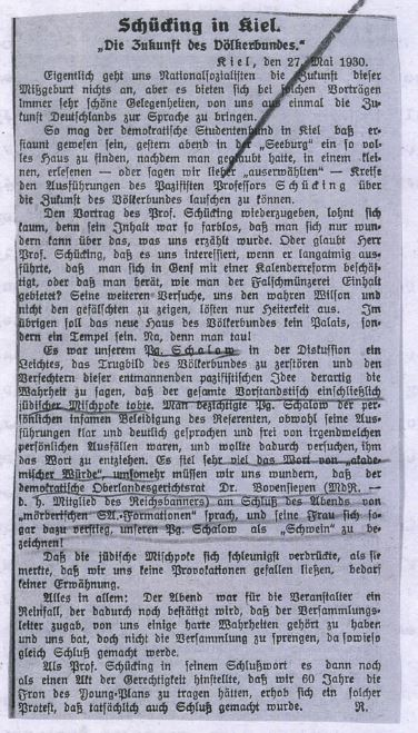 Clipping from Nazi newspaper boasting about suppressing academic freedom by disrupting Prof. Schücking's speech. Schleswig-Holsteinische Tageszeitung, 31 May 1930.